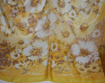 "BAYRON Silk Sheer Scarf - Floral  Yellow and White - 32 x 32"" square"