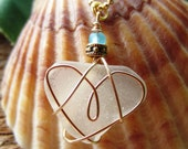 Seaglass Heart Wrapped in Gold on a Gold  Chain,  Boho, Earthy, Simple Necklace