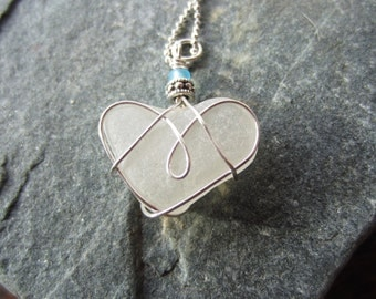 Seaglass Heart Necklace Sterling Silver