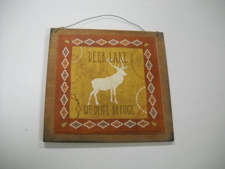 Deer lake wild refuge lodge rustic wood Wooden Wall Art Sign Cabin ...