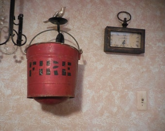 Vintage Red Fire Bucket Pail