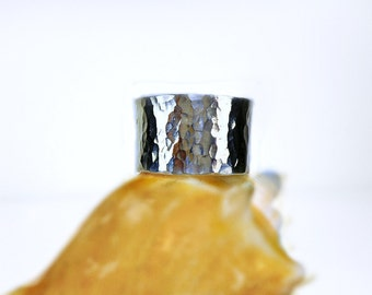 Hammered Sterling Silver Band Ring, extra wide 12mm band, Bright, Patina or custom sizes avail, Unisex, casual , dressy,trendy, perfect gift