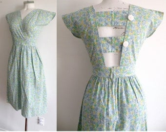 80s Cotton Blue and Yellow Sun Dress Open Back Summer - XS