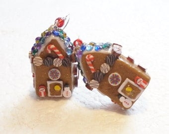 Gingerbread House Earrings. Polymer Clay.