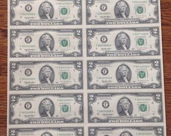 Uncut Uncirculated Sheet Two-Dollar Bills 1995 Series 16 Sheet