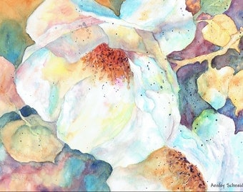 Watercolor Print, Flowers, Wall Decor