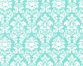 Michael Miller fabric for quilt or craft Petite Dandy Damask in Aqua Half Yard