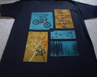 A biker's photo/ scarp book design, discharged rectangles with printed trees, a biker, leaf motif and text, front only, man's large t-shirt