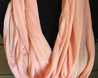 New Stretch Knit Light Peachy Pink Infinity Scarf