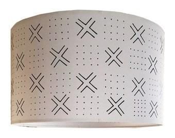 Mudcloth-Inspired Handpainted Drum Lampshades (Domino)