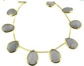 15% Valentines Day Gray Chalcedony Teardrop Beads- Labradorite set in a Gold Vermeil Bezel Bead-- HALF STRAND (LX-21)