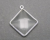12% off Wholesale Crystal Quartz Station Pyramid Pendant - 16mm Sterling Silver Bezel Link Charm Pendant (S34B9-10)