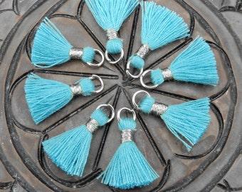 3 pcs Tiny Tassel Pendant-- Teal Colored Tassel Pendant with Silver Tone Bail - BULK LOT OF 3 - (S36B24-07)