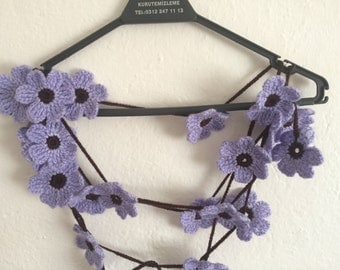 Crocheted Lilac And Brown Flower Scarf, Lariat