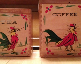 Vintage  Pair of Wooden Canisters Tea Coffee Rooster Motif