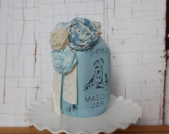 Blue Chalk Paint Mason Jar with Fabric Flowers, Wedding Centerpiece, Vase, Shabby Chic, Farmhouse, Rustic