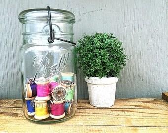 ONE Mason Jar | Ball Eclipse Wide Mouth Canning Jar | Vintage Quart Size Jar | Clear Glass | Wide Mouth Storage Jar | Fruit Jar