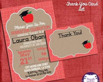 Teacher Graduation Invitation and Thank You Card Set, Graduation Invitation, Grad Invite-I design you print