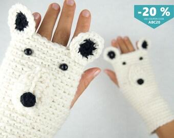 Polar Bear Fingerless Gloves ~ FREE Shipping Worldwide