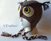 Brown owl Handmade hat-Baby owl hat-Teen owl hat-Adult owl hat-All sizes available