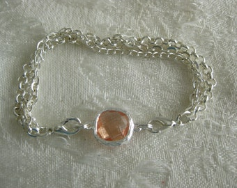 Interchangeable Charms for DIY bracelets/Buy 1 or many/interchange to match your wardrobe PEACH Crystal