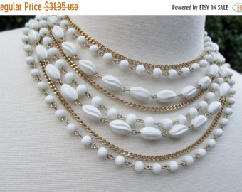 CHRISTMAS In July SALE SALE 20% Off, Vintage Coro Signed Multi Strand Bib Necklace~Egyptian Revival Baroque Statement Piece