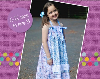 Lucy's Apron Halter Knot Dress and Top PDF Pattern size 6-12 months to size 8