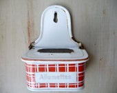 Vintage French Enamelware Match Box Allumettes Hinged Box France Red Match Holder French Kitchen