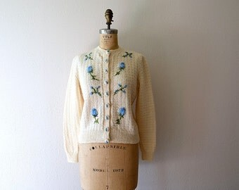 1950s wool cardigan . 50s embroidered roses sweater