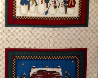 Vintage Fabric panel with snowmen - VIP Fabric - OOP