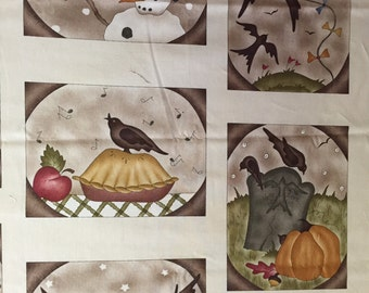 Last One! Red Rooster Fabric panel - A Year to Crow About - Jacqueline Paton