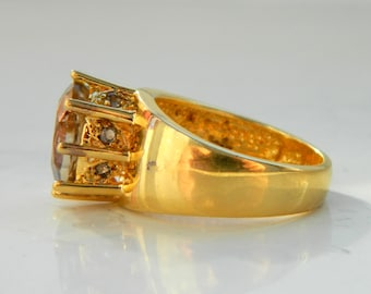 Vintage Royal Tall Crown Sterling Silver Gold Coated Ring with a Topaz Stone Size 7 1/4