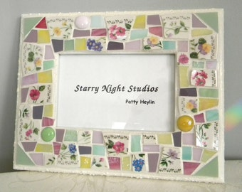 Mosaic Broken China Frame - English Cottage Garden - Recycled China Tiles and Stained Glass