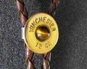 Winchester 12 Gauge Shotgun brown Bolo Tie with tigers eye