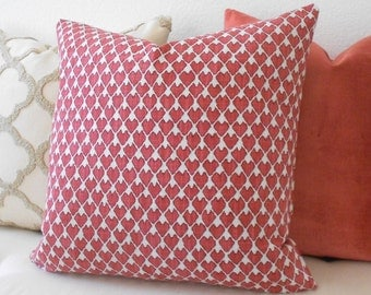 Double sided, Red and cream heart arrow ikat geometric decorative pillow cover, accent pillow, throw pillow