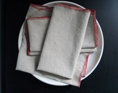 Cloth Napkins Linen Natural with Red Trim