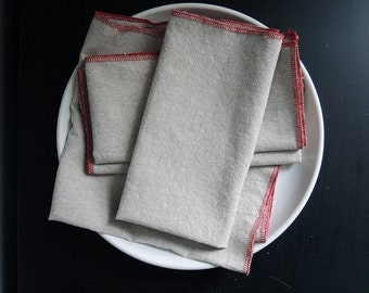 Natural Linen Cloth Napkin Set  Tan Chambray with Red Trim Eco Friendly