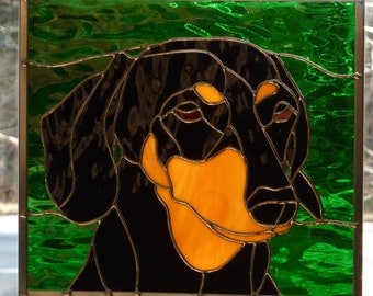 Stained Glass Panel - Dachshund Black and Tan
