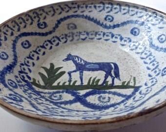 19thC Rare Early Spongeware bowl Horse
