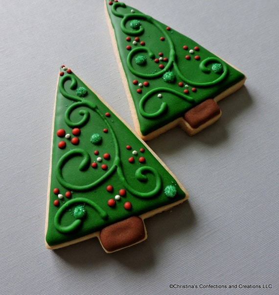 Modern Style Large Christmas Tree Decorated Sugar Cookies