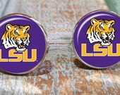 Father's Day gift LSU Tigers Louisiana State University, groomsmen gift, sports logo cuff links, sporty  gift for guys,  sports gift set