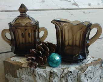 Smoky Brown Glass Creamer + Sugar Set - Retro Serving Pieces by Imperial Glass Co, Vintage Coffee Serving Set, Tea Party Set, Mod Glass