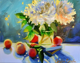 Art Print of CHRYSANTHEMUMS, orange and blue, Classic still life, oil on canvas, painting, art