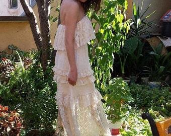bohemian wedding dress lace wedding dress beach wedding dress boho fairy woodland wedding dress made to order