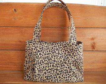 Handbag Purse Accessories Women Handbag Small Pleated Bag Shoulder Bag in Beige with Brown Cheetah print by creationsbyellyn