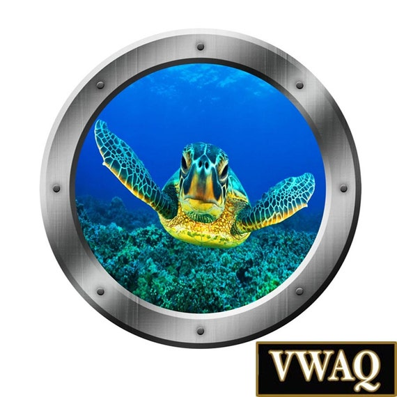 sea turtle porthole wall decal ocean view 3d window sticker. Black Bedroom Furniture Sets. Home Design Ideas