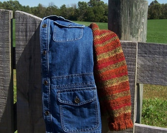 Denim Barn Coat Sweater Sleeves, Upcycled Denim Jacket Women's Size XL Bust 43, Yarn in Fall Colors with Hand Knit Sleeves