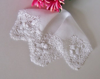 Lace Wedding Hanky for a Bridal Shower Gift Something Old Handkerchief with Hand Made Lace in Off-white