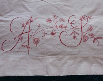 Large red monogram AJ antique French hand monogrammed initials red embroidery w embroidered redwork flowers, vintage sewing patchwork supply