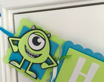 Monsters Inc Happy Birthday Banner in Lime and Aqua